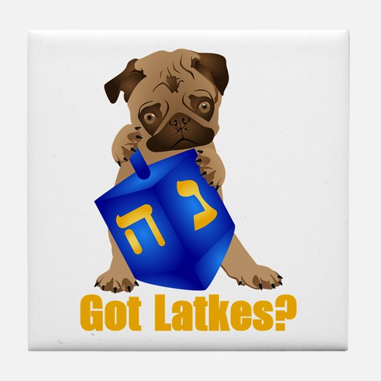 Got Latkes? Pug with Dreidel Tile Coaster