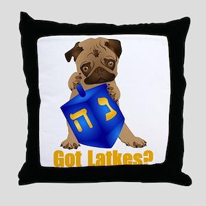 Got Latkes? Pug with Dreidel Throw Pillow