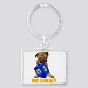 Got Latkes? Pug with Dreidel Landscape Keychain