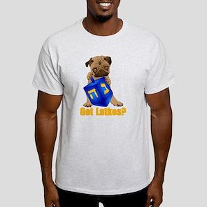 Got Latkes? Pug with Dreidel Light T-Shirt