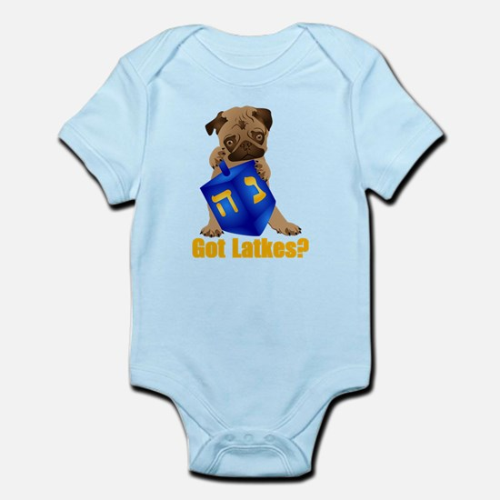 Got Latkes? Pug with Dreidel Infant Bodysuit