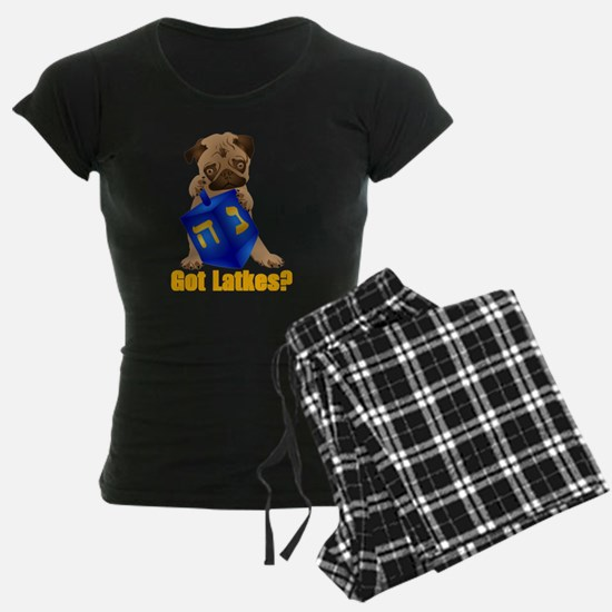 Got Latkes? Pug with Dreidel Pajamas