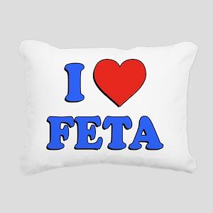 I Love Feta Greek Rectangular Canvas Pillow