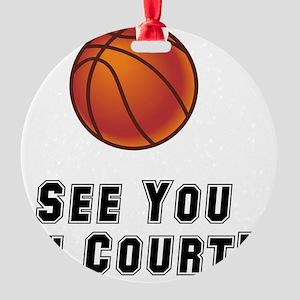 Basketball Court Black Round Ornament