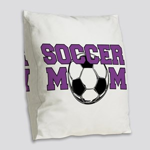 SOCCER Mom in Purple Burlap Throw Pillow