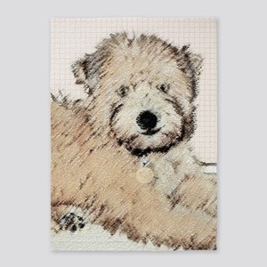 Wheaten Terrier Puppy 5'x7'Area Rug