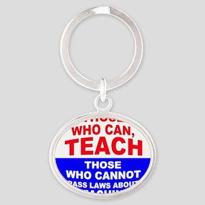 teachbutton4 Oval Keychain