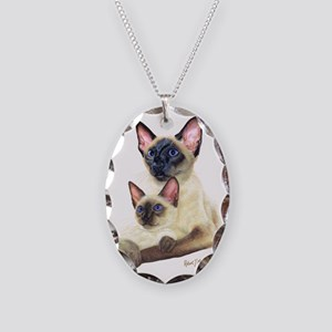 Siamese  Kit Necklace Oval Charm