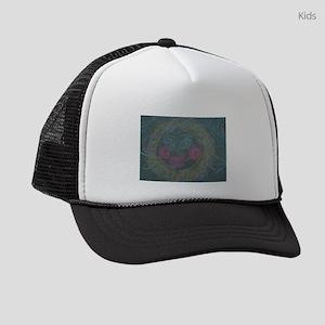 chalk drawing of flower face on s Kids Trucker hat