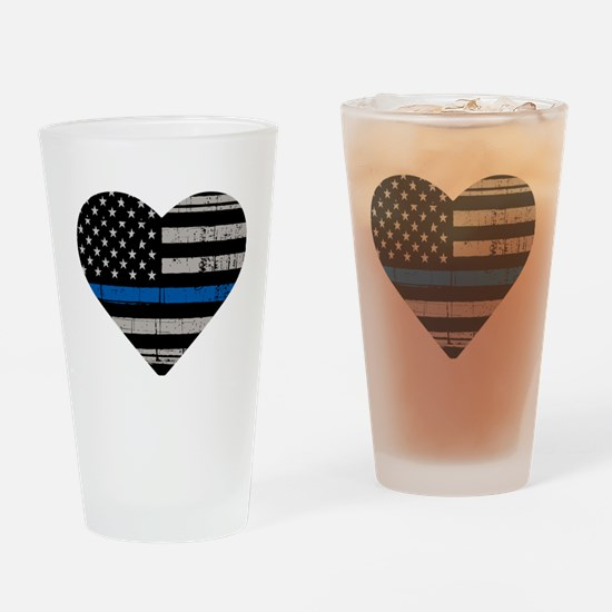 Funny The thin blue line Drinking Glass
