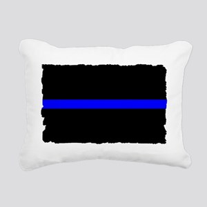 thin blue line rec 33333 Rectangular Canvas Pillow