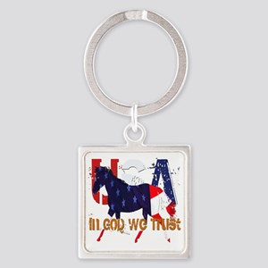 In God We Trust 2 Square Keychain
