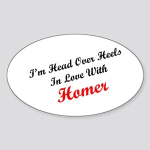In Love with Homer Oval Sticker