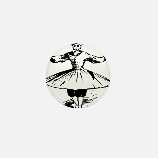 whirling dervish in action Mini Button