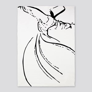 whirling dervish simple lines 5'x7'Area Rug