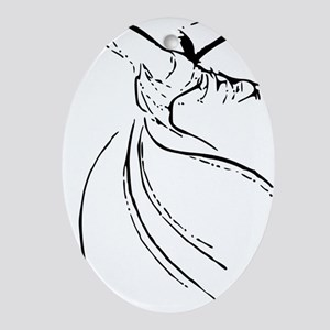 whirling dervish simple lines Oval Ornament