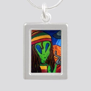Hemp Alien Silver Portrait Necklace