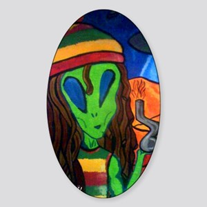 Hemp Alien Sticker (Oval)