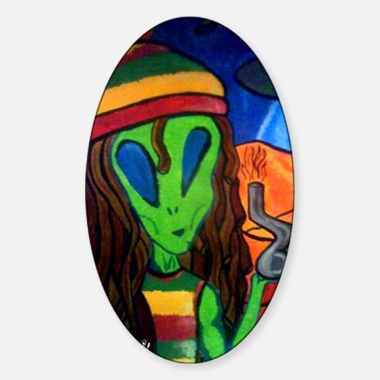 Hemp Alien Sticker (Oval)