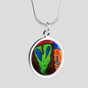 Hemp Alien Silver Round Necklace
