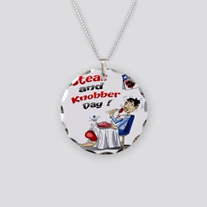 Steak and Knobber Day Logo Necklace Circle Charm