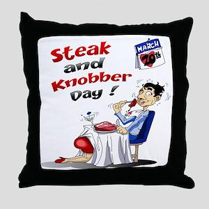 Steak and Knobber Day Logo Throw Pillow
