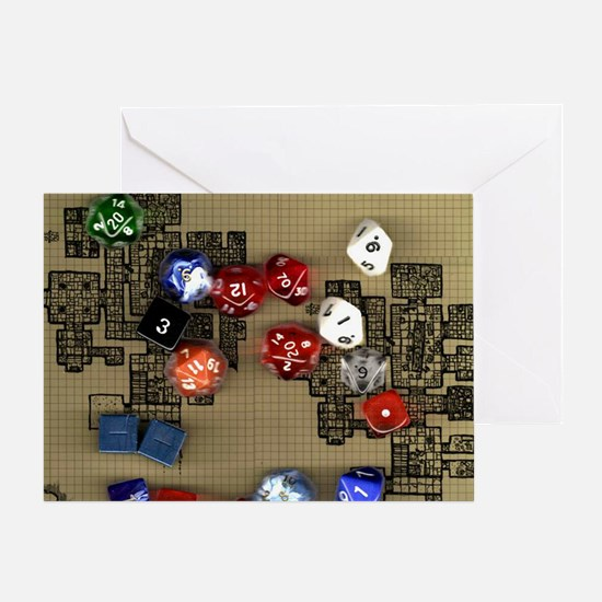 Dice and RPG dungeon map Greeting Card