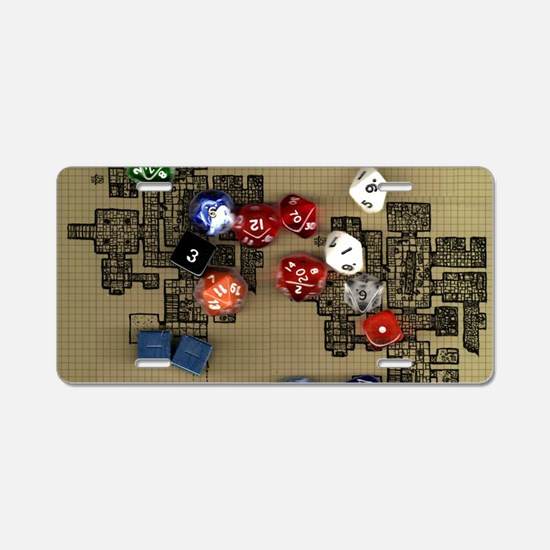 Dice and RPG dungeon map Aluminum License Plate