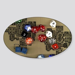 Dice and RPG dungeon map Sticker (Oval)