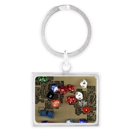 Dice and RPG dungeon map Landscape Keychain