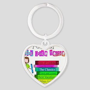 retired 3rd grade teacher 2011 Heart Keychain