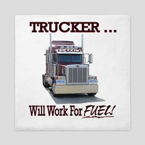 Red Peterbilt(Trucker..Will Work For F Queen Duvet