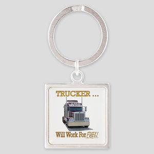 Red Peterbilt(Yellow Words,Trucker Square Keychain