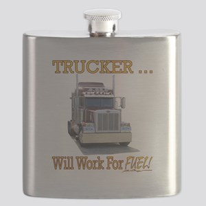 Red Peterbilt(Yellow Words,Trucker..Will Wor Flask