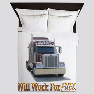 Red Peterbilt(Yellow Words,Trucker..Wi Queen Duvet