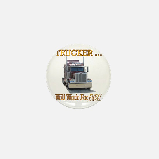 Red Peterbilt(Yellow Words,Trucker..Wi Mini Button