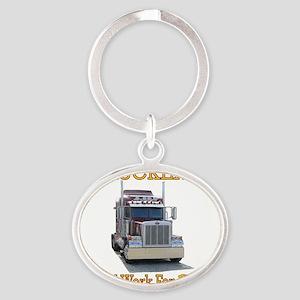 Red Peterbilt(Yellow Words,Trucker.. Oval Keychain