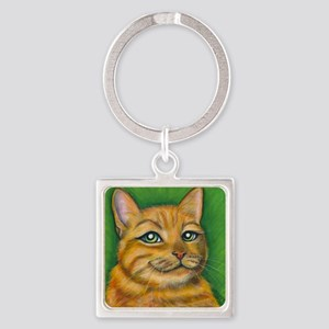 Tabby Cat Dennis Square Keychain
