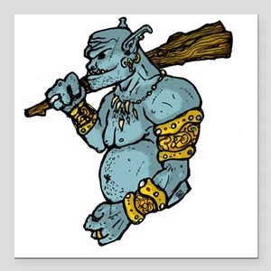 "Blue Troll with Club Square Car Magnet 3"" x 3"""