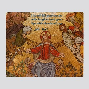 Job 8-21 Jesus Mosaic Throw Blanket