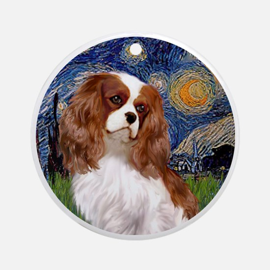 ORN-Cavalier2-StarryNight Round Ornament