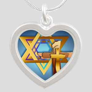 Star Of David and Triple Cro Silver Heart Necklace