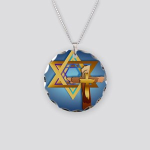 Star Of David and Triple Cro Necklace Circle Charm