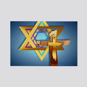 Star Of David and Triple Cross_mp Rectangle Magnet