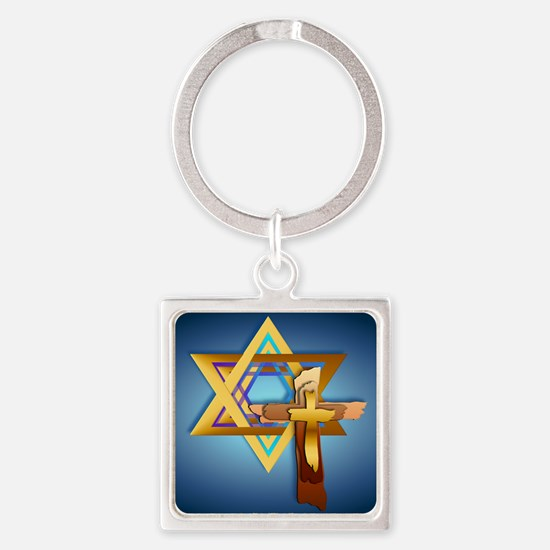 Star Of David and Triple Cross_mpa Square Keychain