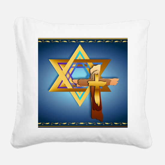 Star Of David and Triple Cros Square Canvas Pillow