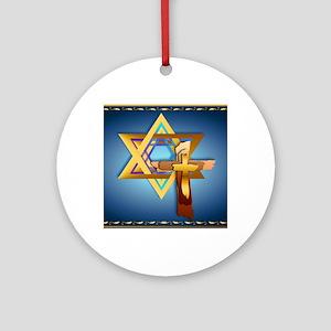 Star Of David and Triple Cross_mpad Round Ornament