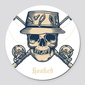 fisher-skull-DKT Round Car Magnet