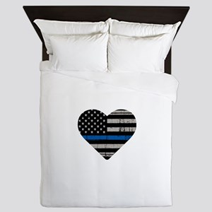 Shop Thin Blue Line Queen Duvet