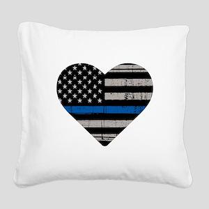 Shop Thin Blue Line Square Canvas Pillow